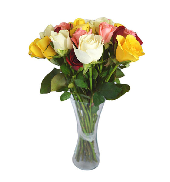 12 Mix Roses In A Vase Kalpa Florist