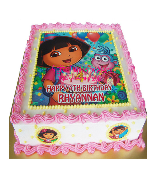 Dora The Explorer Cartoon Cake