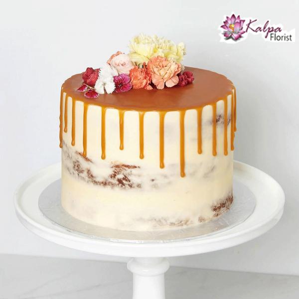 Peachy Semi Naked Cake Kalpa Florist Funny Birthday Cards Online Elaedamsfinfo