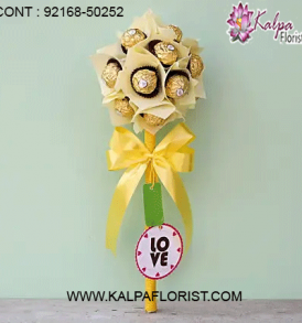 Buy chocolate bouquet online at cheap price in India via Kalpa Florist. We've chocolates bouquets like ferrero rocher & dairy milk. Order now!