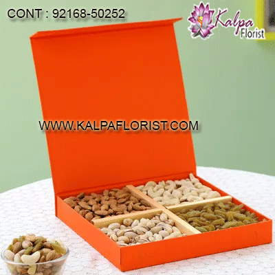 Order dry fruits gift pack and dryfruit gift boxes online in India through kalpa florist. Buy dry fruits to India online anywhere having fresh and delicious quality.