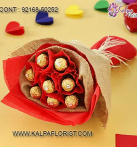Chocolate Bouquet Ideas : Buy chocolate bouquet online at cheap price in India via Kalpa Florist. We've chocolates bouquets Ferrero Rocher. Order now!