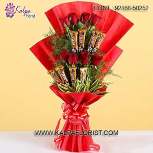 Send your loved ones a perfect combination of Chocolate Bouquet With Flowers to make them feel extra special.