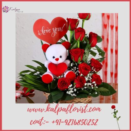 Red Rosses With Love Tag and Teddy Bear