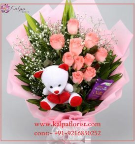 Roses Bouquet With Chocolate And Teddy