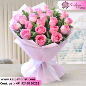 Pink Perfection Rose Bouquet Online Flower Delivery In Delhi Kalpa Florist